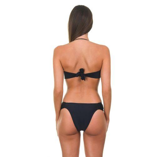 黑色鉤針編織細系帶比基尼上裝和固定式下裝款 - FAUSTINA