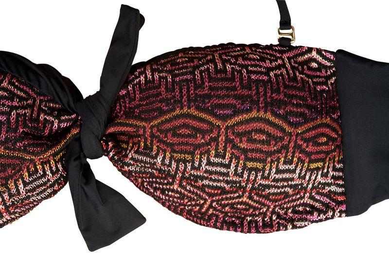 Black crochet-knit bandeau bikini top and fixed bottom - FAUSTINA