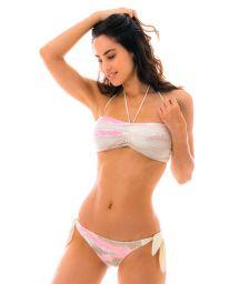 Bandeau pink & white crochet bikini - IRACEMA ROSA