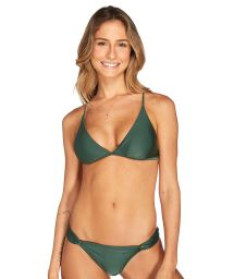 Deep green triangle bikini with crossover back - AMAZONA VERDE