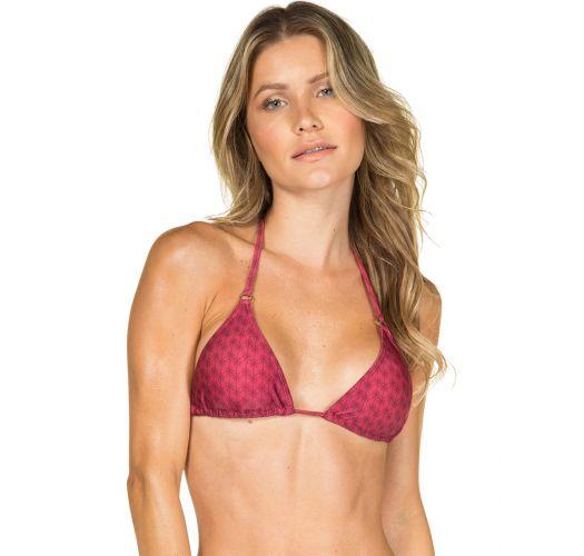 Bikini triangle rose foncé motif ton sur ton - BIQUINI FLORIDA VERMELHO