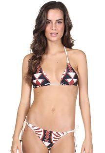 Rynkad bikini med etniskt tryck - BIQUINI INCA MARINHO