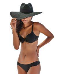 Black balconette bikini with drape effect - BIQUINI LISO PRETO