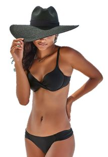 Black balconette bikini with drape effect - BIQUINI LISO PRETO
