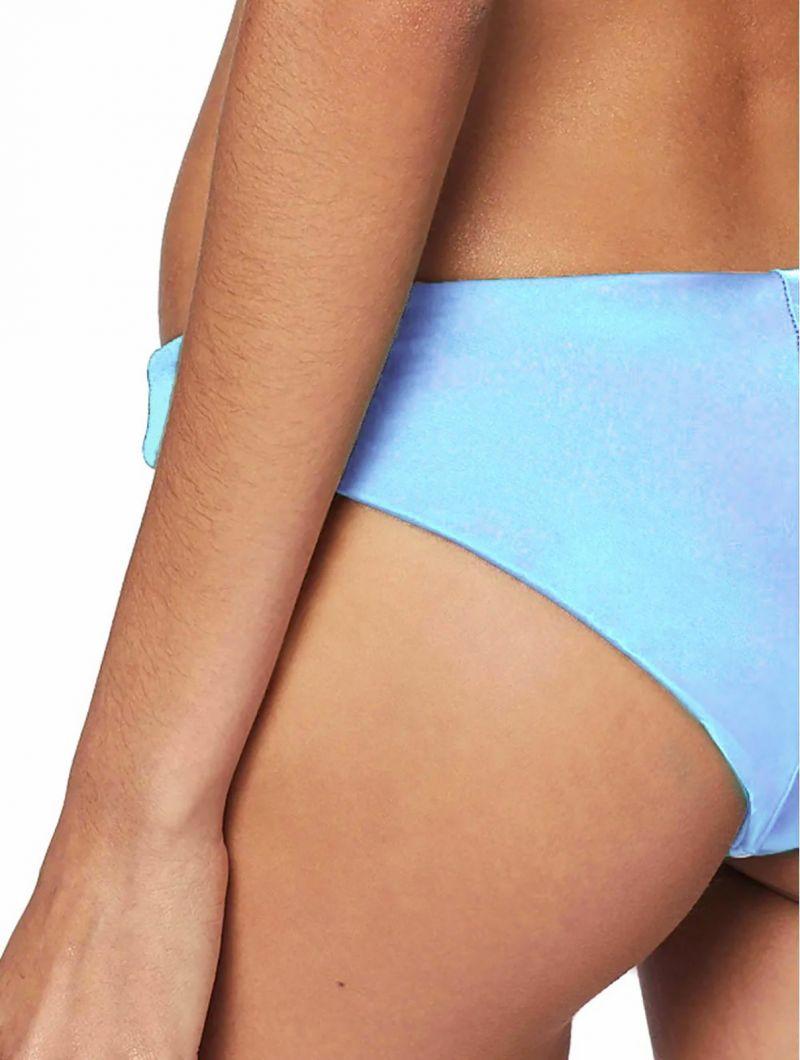 Himmelsblå smockad crop topp bikini med volanger - CROPPED LISO AZUL