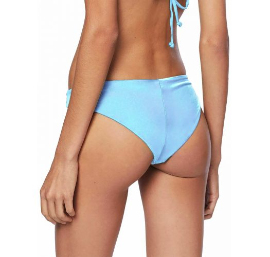 Light blue textured and ruffled crop top bikini - CROPPED LISO AZUL