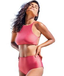 Rosa hochtailliertes Luxus-Crop-Top-Bikini - CROPPED LISO VERMELHO