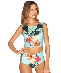 High waisted bikini bottoms and blue floral crop top - HAVANA CROPPED