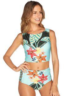 Bikini med høyt liv og crop top, blåblomstret - HAVANA CROPPED