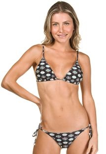 Navy blue triangle bikini with eye print - MYKONOS MARINO