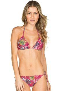 Mörkrosa rynkad bikini med växtmönster - VINHO CAPETOWN
