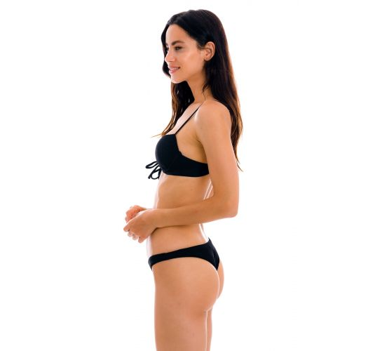 Textured black push-up balconette bikini with high-leg bottom - SET COTELE-PRETO BALCONET-PUSHUP LISBOA
