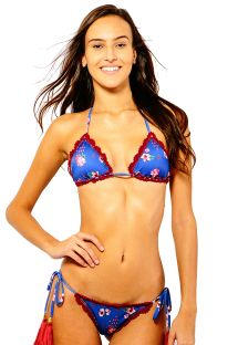Blue floral triangle bikini with red embroidery - CASSANDRA