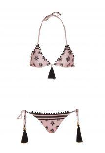 Bikini brésilien rose imprimé, pompons noirs - LUARA BIKINI