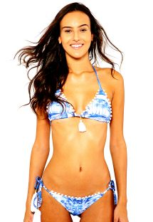 Blue printed triangle bikini with white pompons - LUARA BLUE WORD