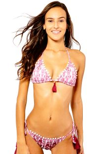 Ethnic red triangle  bikini with pompons - LUARA RED IKAT