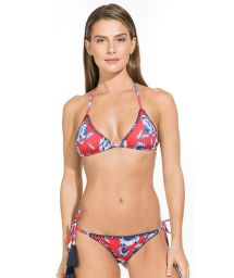 Red floral triangle bikini with stitching - NINA BIG FLOWER RED
