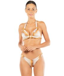 Gold tie dye triangle halter bikini with ring details - A TOI SUNSHINE