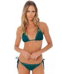Bikini brésilien vert foncé bords frangés - ATHENA AMAZON