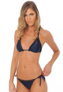 Navy Brazilian bikini with jagged edges - ATHENA NAVY