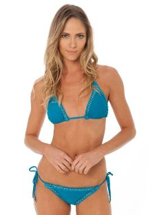 Bikini brésilien luxe bleu bords frangés - ATHENA TOURMALINE