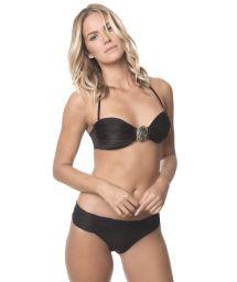 Black shell-shape bandeau bikini with jewel - BLACK SARDINIA
