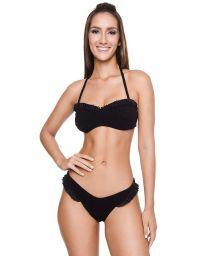Bikini bandeau noir texturé détails volants - BRITNEY BK BLACK