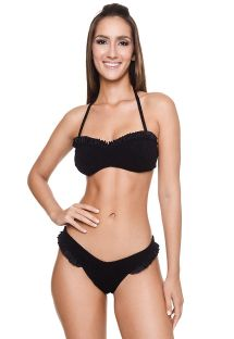 Lussuoso bikini a fascia testurizzato nero con dettagli arricciati - BRITNEY BK BLACK
