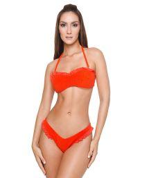 Bikini bandeau orange texturé détails volants - BRITNEY BK TANGERINE TANGO