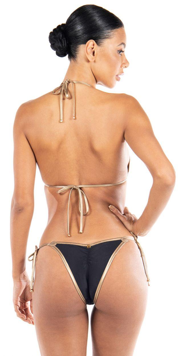 Reversible luxurious gold & black striped triangle bikini - BUZIOS DOUBLE LUREX