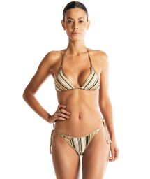 Beidseitig tragbarer Luxus-Triangel-Bikini gestreift gold/schwarz - BUZIOS DOUBLE LUREX