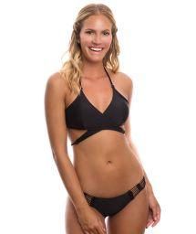 Black bikini with crochet detail and criss-cross top - CACHE COUER PRETO