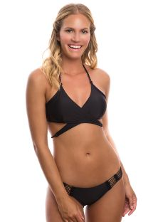 Black bikini with crochet detail and criss-cross top - CACHE COUER PRETO