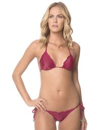 A claret mini scrunch bikini with wavy edges - CHERRY FROU FROU