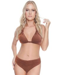 Bikini triangle foulard marron et bas plissé - CHIC BK BROWNIE