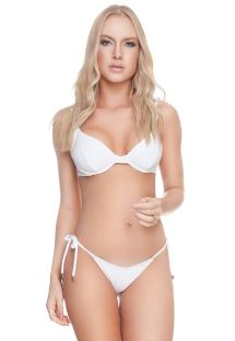 White textured underwired balconette bikini - CLAUDIA BK WHITE