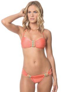 Orange bandeau bikini med macrame-pynt - CORAL JET SET
