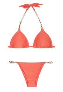 Triangel Badeanzug, Farbe: orange, mit Perlen - CORAL NEW SHELLY
