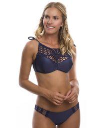 Dark blue crop top bikini with crochet detail - COSMO MARINO