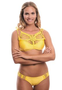 Two-fabric yellow crop-top bikini with crochet - COSMO PINEAPPLE