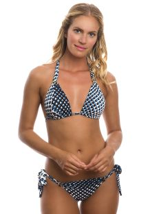 Blue halterneck triangle bikini in graphic polka dot print - CRYSTALINE