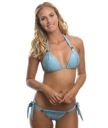 Light blue halterneck triangle top bikini with stones - CRYSTALINE NATIVE