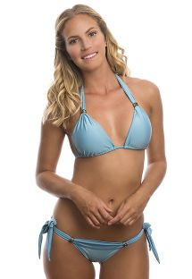 Light blue halterneck triangle top bikini with stones - CRYSTALINE NATIVE