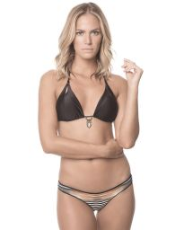 Black triangle bikini with decorative jewel feature, printed bottom - DAWN AMULET