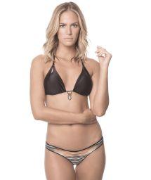 Black triangle bikini with decorative jewel feature, printed bottom - DAWN AMULET