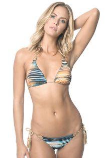 Trekant-bikini med trykk og degradering, forbindelsesbånd - DAWN BUZIOS