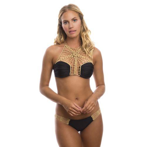 Black bi-material and crochet crop-top bikini - DHALIA