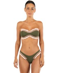 Textured green bandeau bikini with pink ruffles - D.I.S.C.O. ROSEMARY