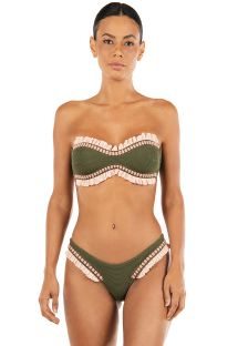 Textured green bandeau bikini with pink ruffles - D.I.S.C.O. ROSEMARY