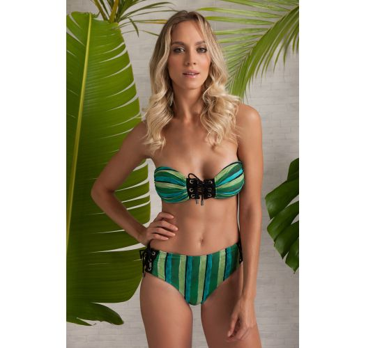 Laced bandeau bikini with green stripes - EYELET FOREST